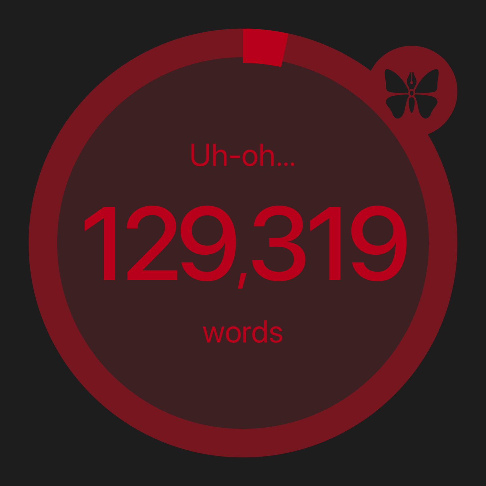 129,319 of 125,000 words